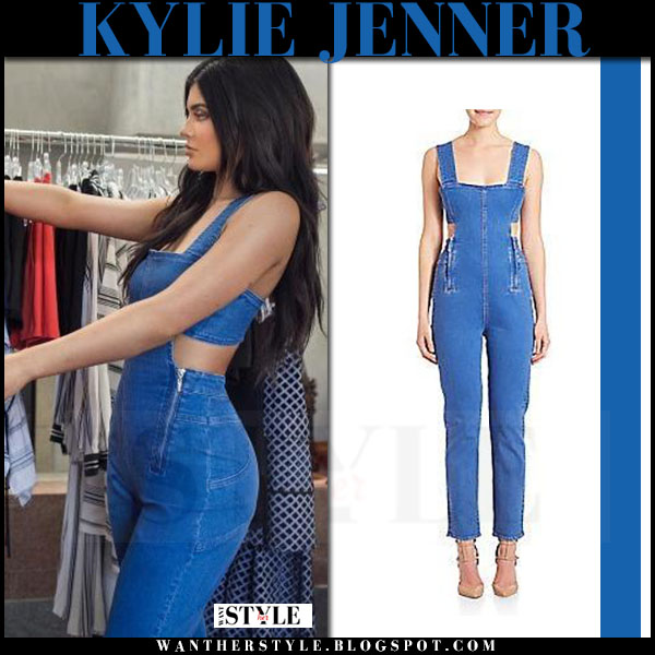 Kylie Jenner In Denim Cutout Jumpsuit Kendall What She Wore