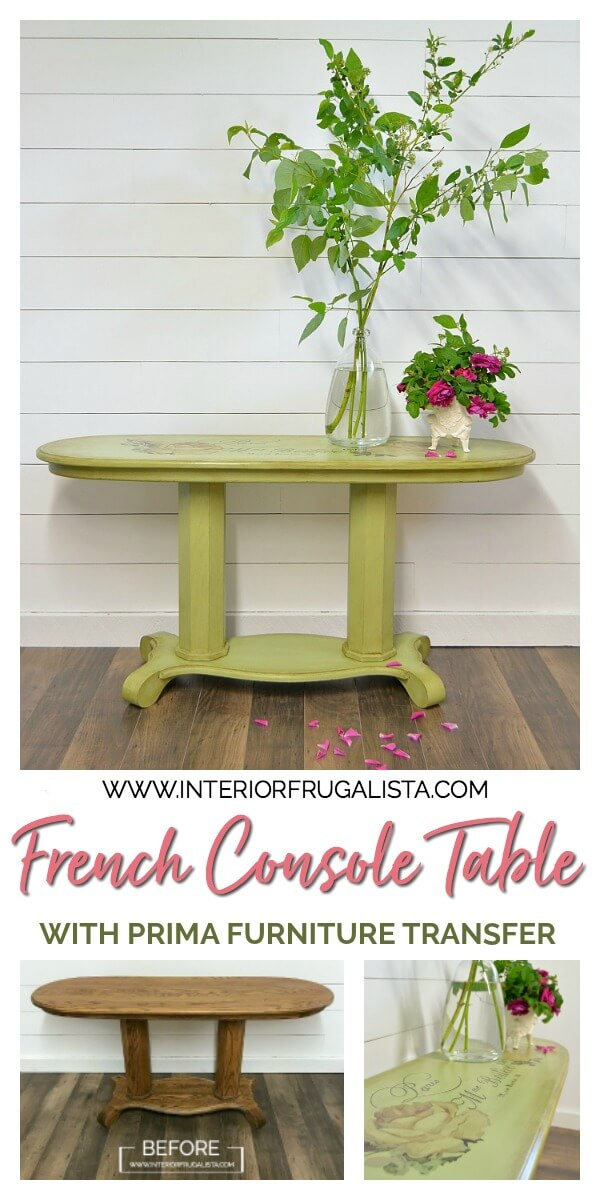 A long oval golden oak empire style console table makeover with French Country Charm with a gorgeous Chatellerault furniture transfer and green paint. #consoletable #sofatable #frenchcountrystyle