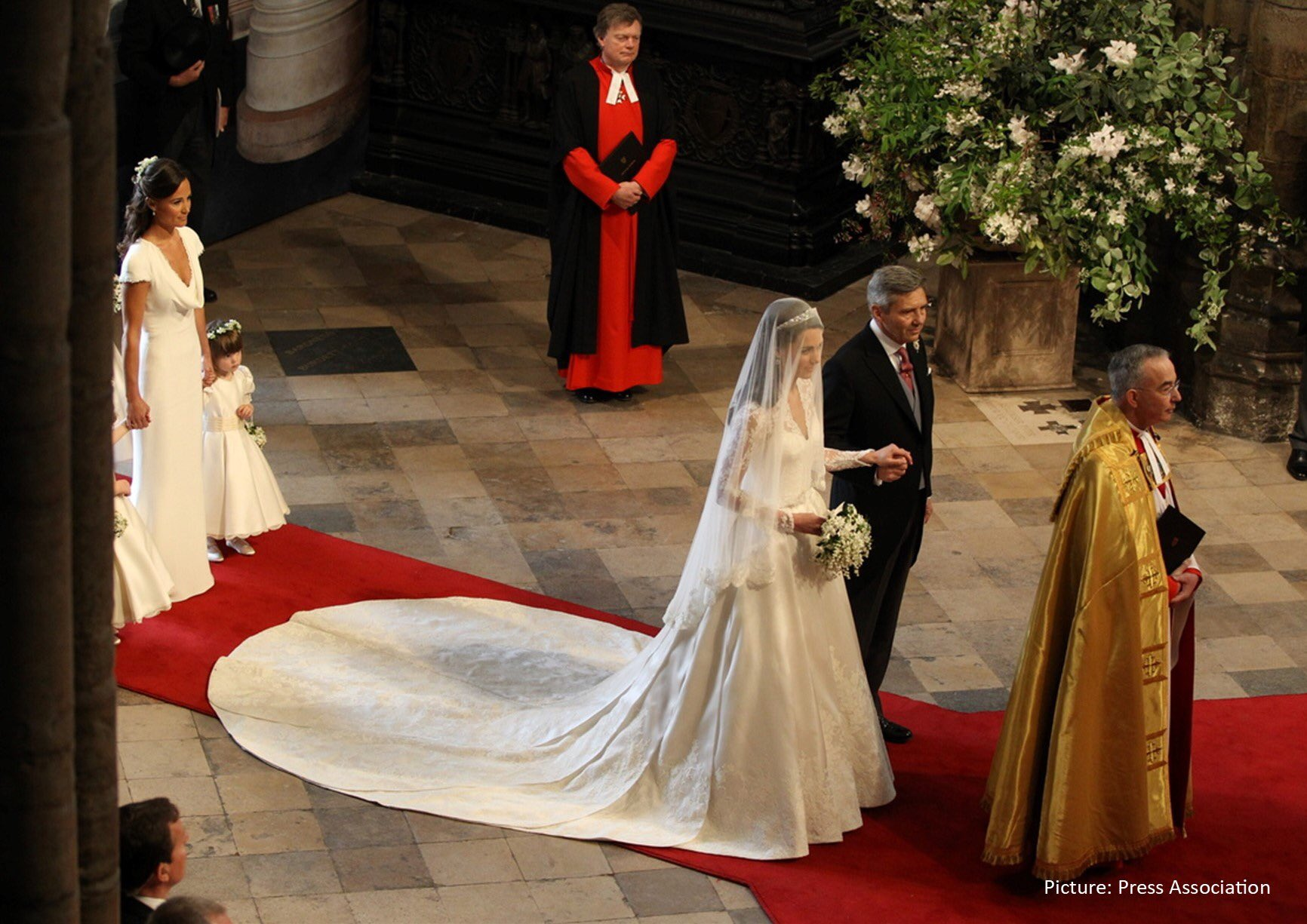 The Duchess of Cambirdge walking down the aisle