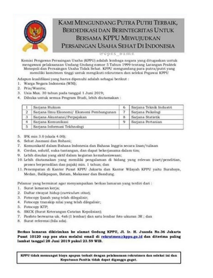 Seleksi Penerimaan Pegawai Komisi Pengawasan Persaingan Usaha (KPPU) Republik Indonesia