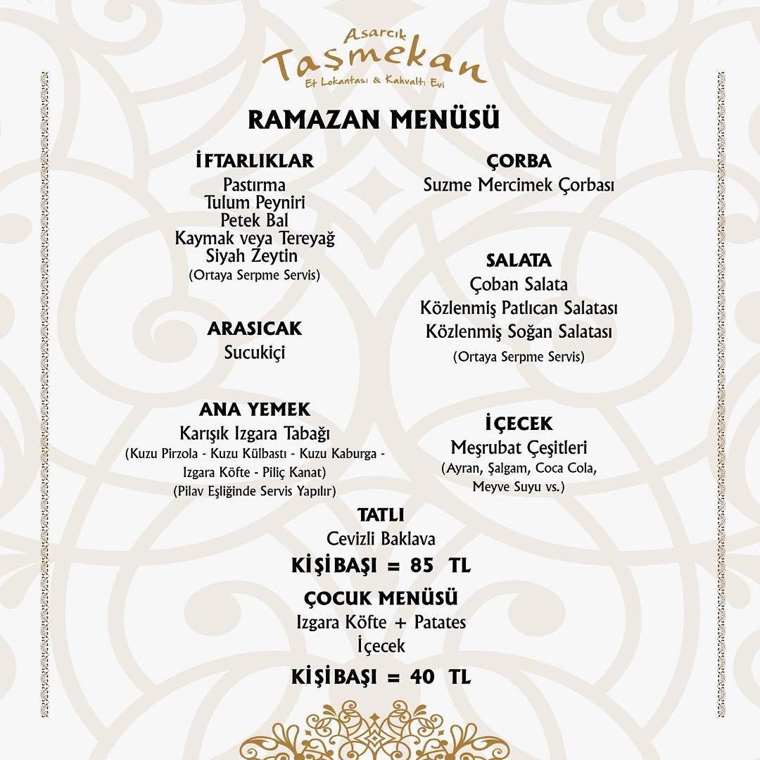 taş mekan et lokantası kayseri iftar menüleri ramazan 2019