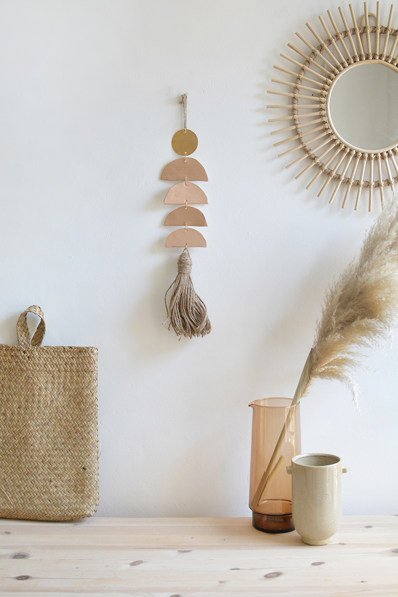 DIY brass and clay wall hanging