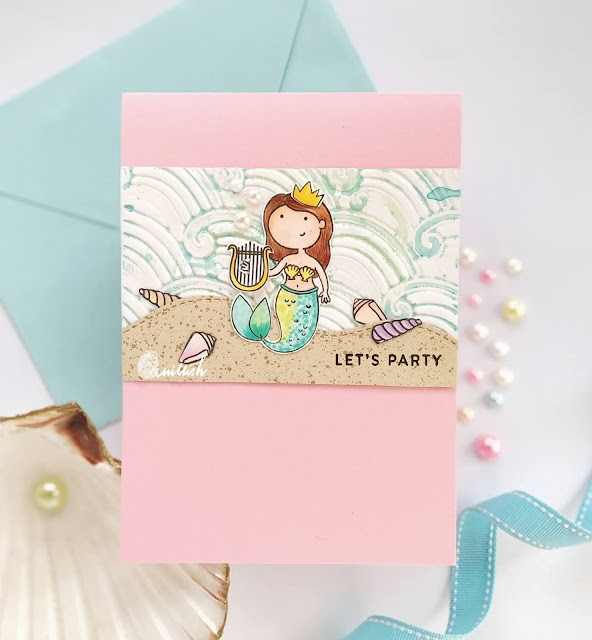 Studio Katia Mermaid card, Mermaid for each other stamp set , Clean and simple card. Copic coloring, Quillish, Birthday card