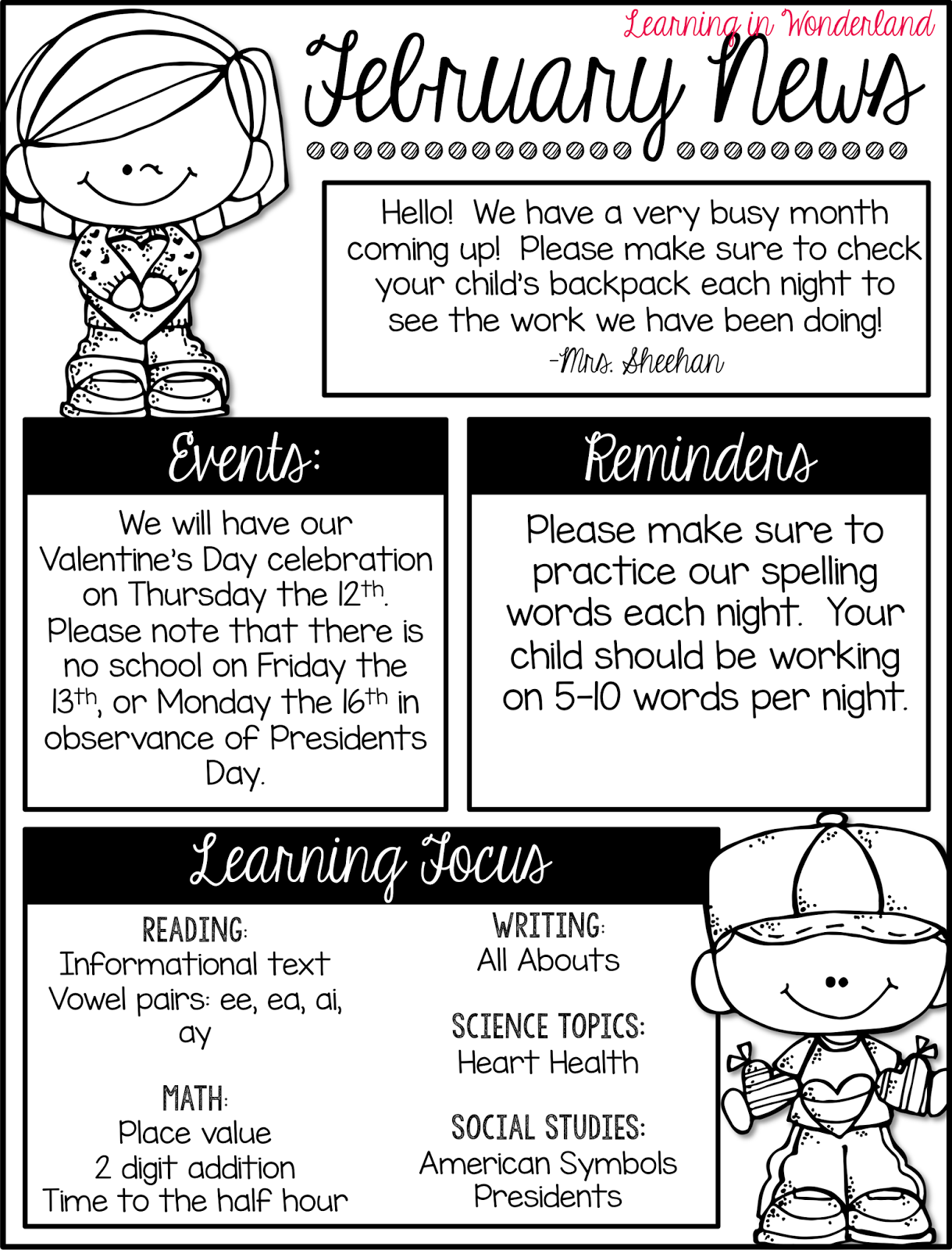 Note Home Parents Template