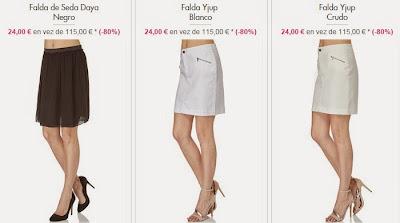 Ejemplos de faldas en oferta por 24 euros