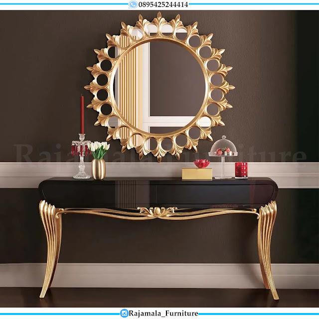 Great Meja Konsul Mewah Jepara Terbaru Black Golden Luxury Color Combination RM-0420