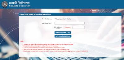 Gauhati University Admit Card 2019