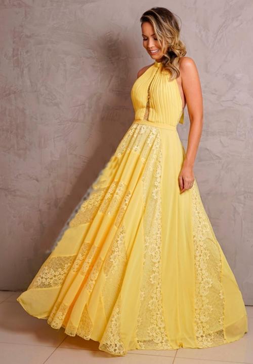 vestido longo amarelo rendado para madrinha de casamento