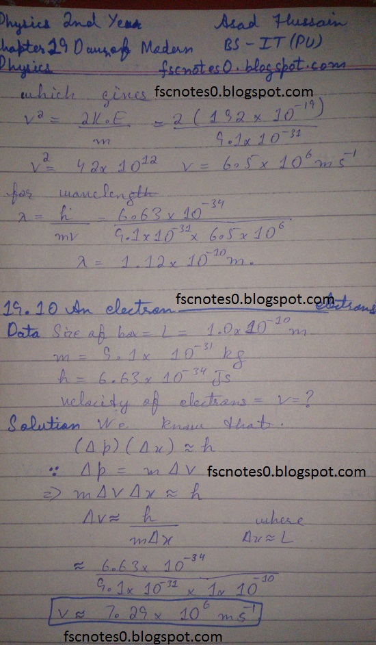 F.Sc ICS Notes: Physics XII: Chapter 19 Dawn of Modern Physics Numerical Problems Asad Hussain 5