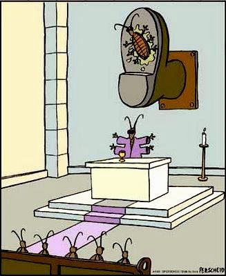 Funny Ant Church Worshiping Squashed Ant Boot Cartoon Joke Picture