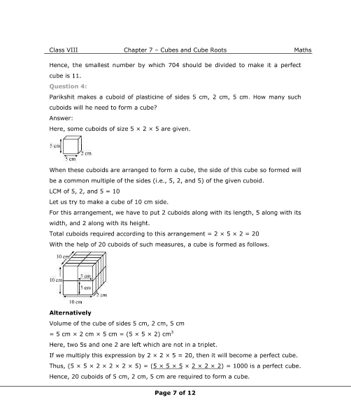 NCERT Solutions for Class 8 Maths Chapter 7 Cubes and Cube Roots