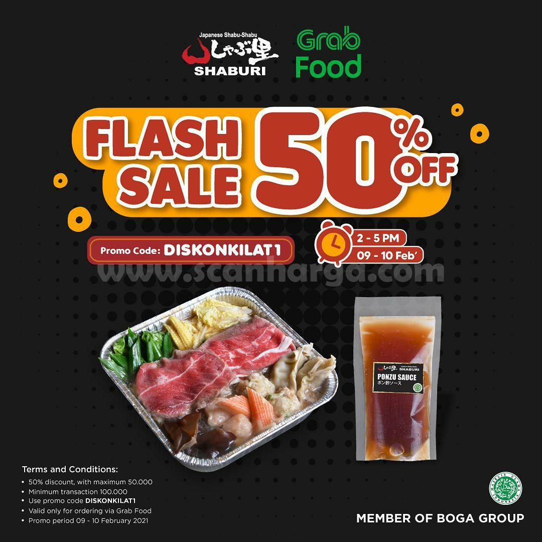 SHABURI Promo FLASH SALE GRABFOOD! Spesial DISKON 50%