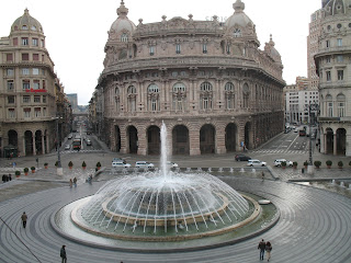 The bronze fountain that forms the centrepiece of  the Piazza de Ferrari in Genoa