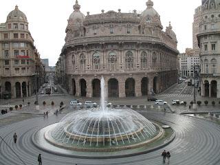 The bronze fountain that forms the centrepiece of  the Piazza de Ferrari in Genoa