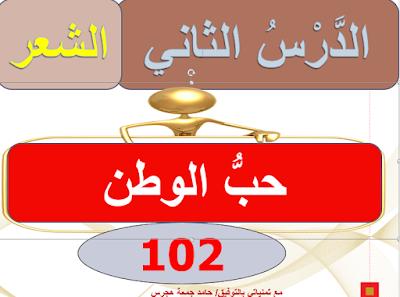 حل درس حب الوطن في اللغة العربية للصف السادس