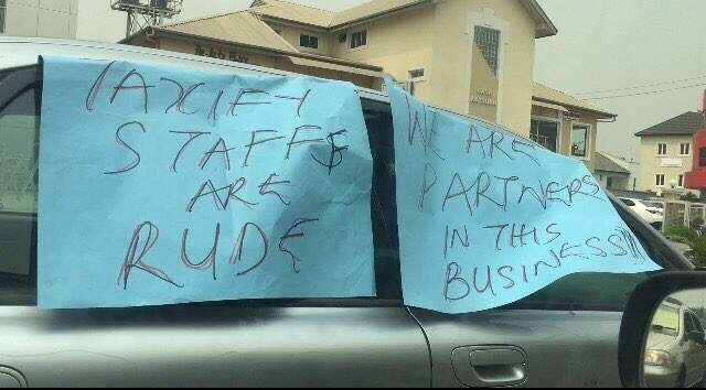 """tax - """"We Are Not Rapists, We Need Respect"""" – Taxify Drivers Protest In Lagos"""