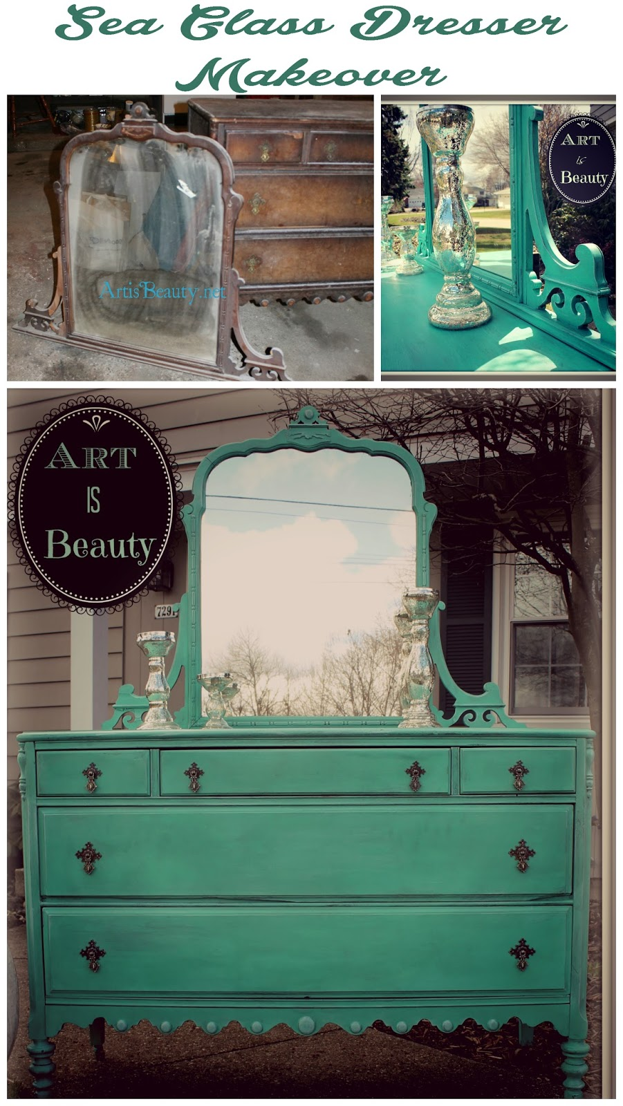 Art Is Beauty To Beauty From Beast Custom Sea Glass Dresser Makeover