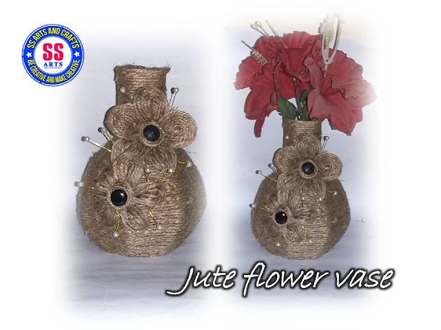 Here is jute crafts,jute wall hangings,crafts made from jute,jute work on pots,jute work on mirror,jute bage,jute wall decor,jute flowers,How to make jute flowers,how to make jute and card board flower vase