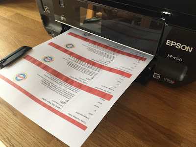 image of raffle tickets on home printer