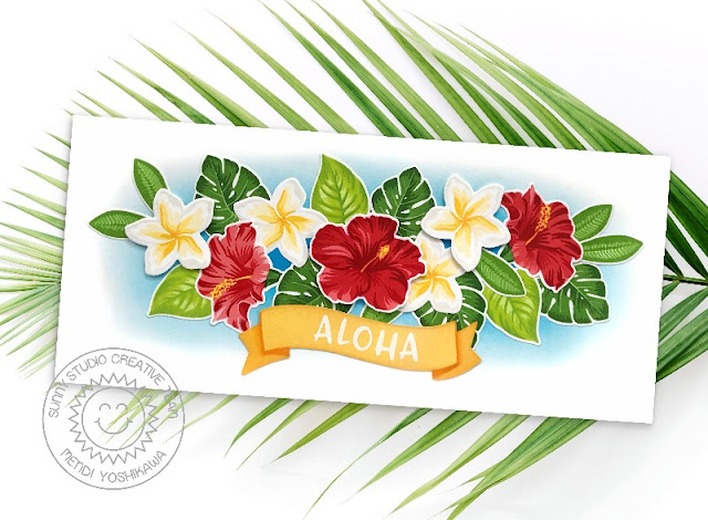 Sunny Studio Blog: Aloha Tropical Flower Slimline Card (using Radiant Plumeria, Banner Basics & Hawaiian Hibiscus Stamps)