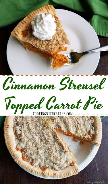 A sweet pie filled with carrot goodness and topped with cinnamon streusel. It's perfect for Easter, Thanksgiving or just because!