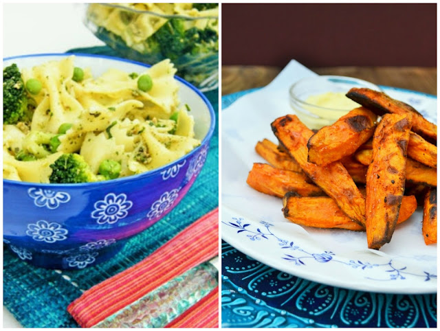 Green Goddess Farfalle and Paprika Spiced Potato Fries