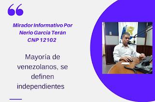 Mirador Informativo Nerio García Terán CNP 12102 Mayoría de venezolanos se definen independientes