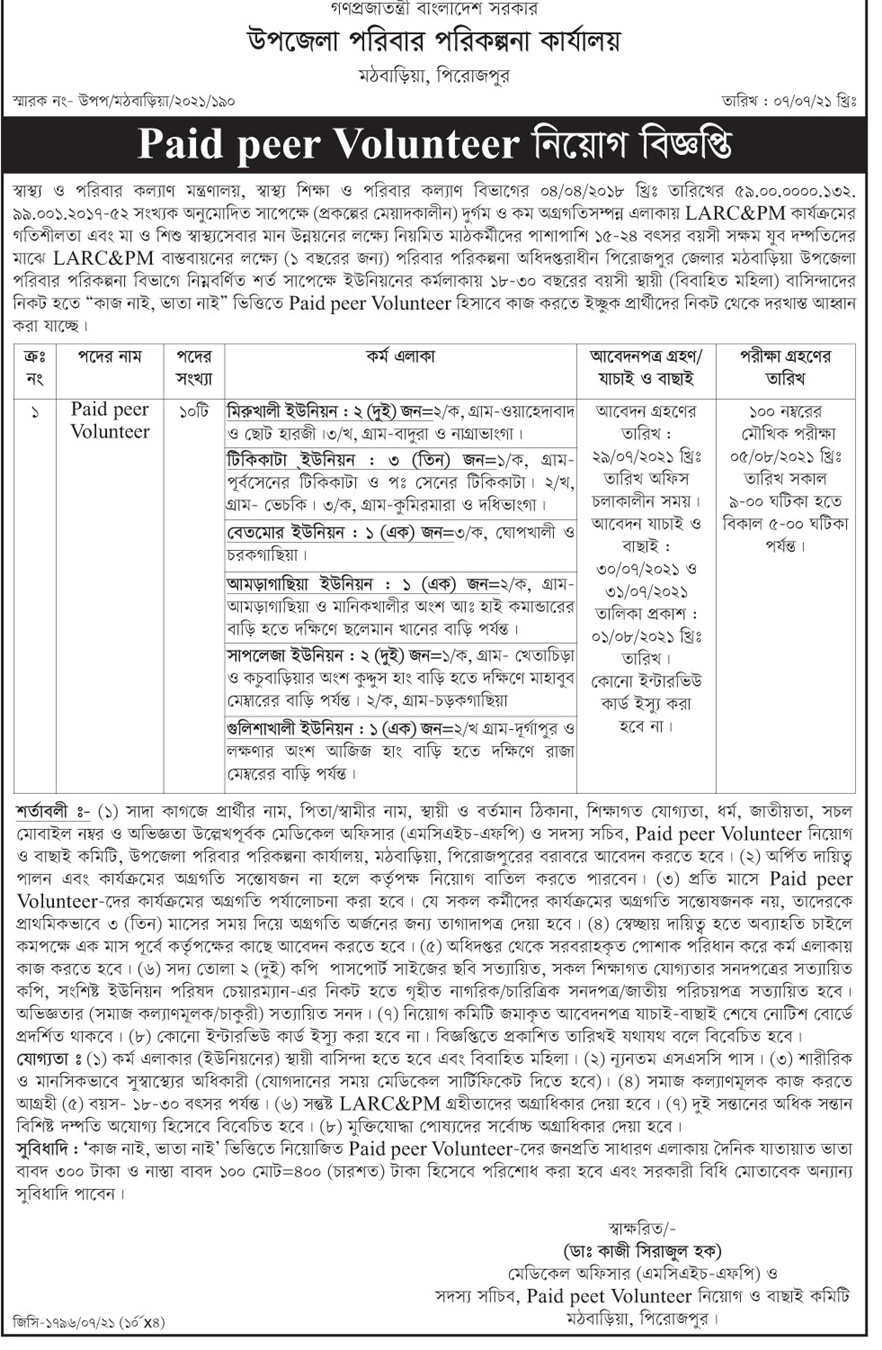 Mothbaria Pirojpur Upazila Family Planning Office Job Circular 2021