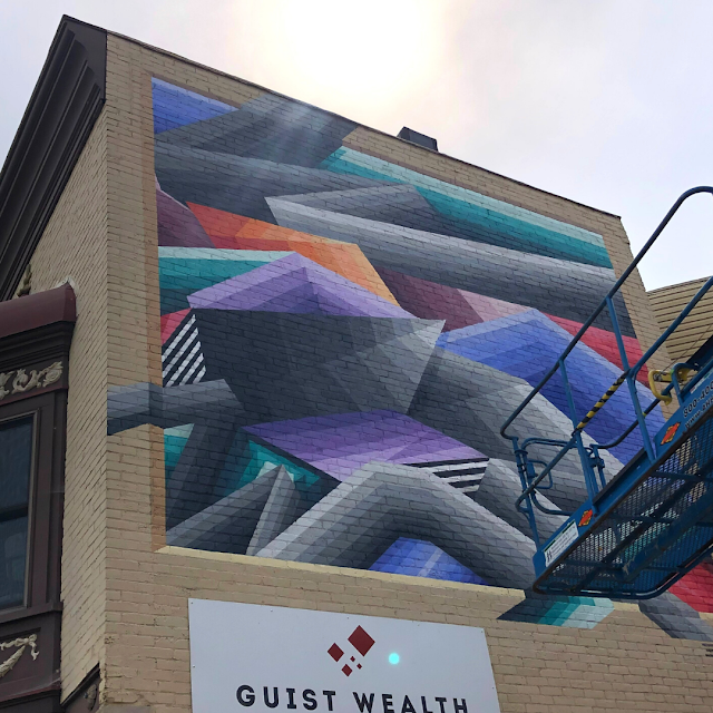 Formations on Jackson Mural by Nathan Brown fuses color and geometry.