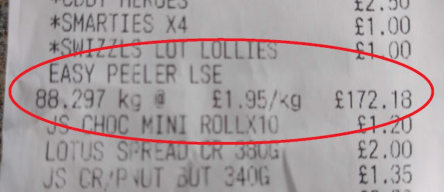 photo of a receipt highlighting entry: EASY PEELERS LSE 88.297 kg @ £1.95/kg  £172.18