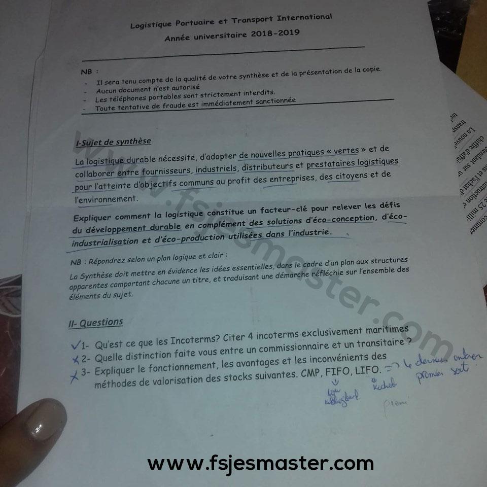 Exemple Concours Master Logistique Portuaire et Transport International 2018-2019 - Fsjes Tanger
