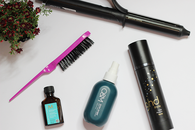A photo of Current haircare loves featuring GHD classic curl and O&M salt spray