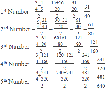 Example 2: Calculation of  rational numbers between 3/4 and 4/5