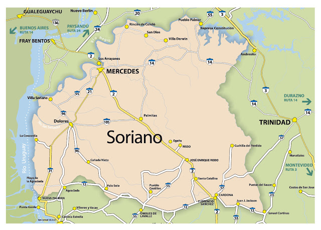 Mapa do Uruguai - Departamento de Soriano