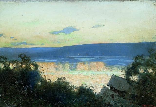 Исаак Ильич Левитан - Вечер на Волге (1). 1888