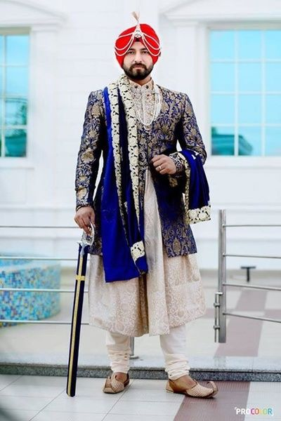 Wedding Groom golden blue Dress Punjabi  2020
