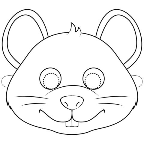 Tranh tô màu mặt nạ thỏ con