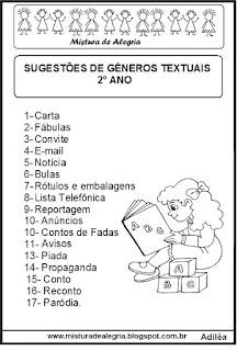 Gêneros textuais para cada turma