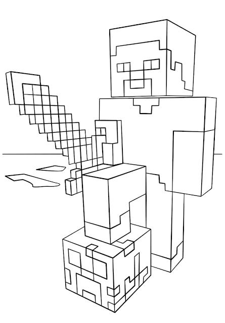 Mewarnai Gambar Minecraft Untuk Anak