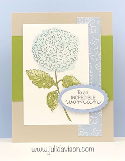 Stampin' Up! Sneak Peek: Hydrangea Hill Suite ~ Hydrangea Haven Card ~ Stampin' Creative Blog Hope: Celebrations ~ www.juliedavison.com #stampinup