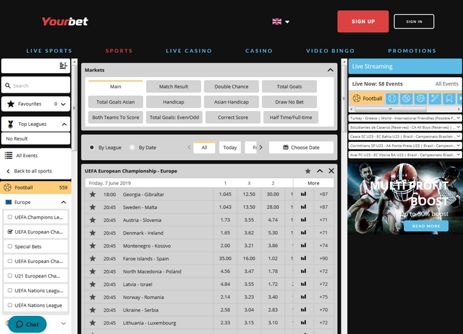 YourBet Live Bets