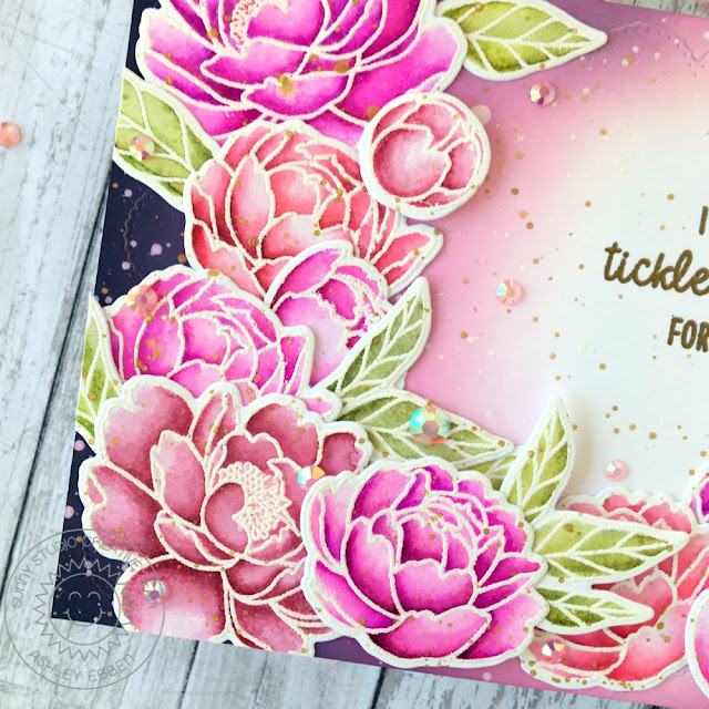 Sunny Studio Stamps: Pink Peonies Frilly Frame Dies Everyday Card by Ashley Ebben
