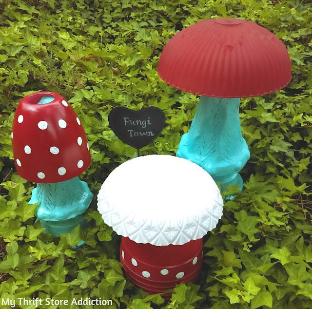fungi town repurposed garden junk mushrooms
