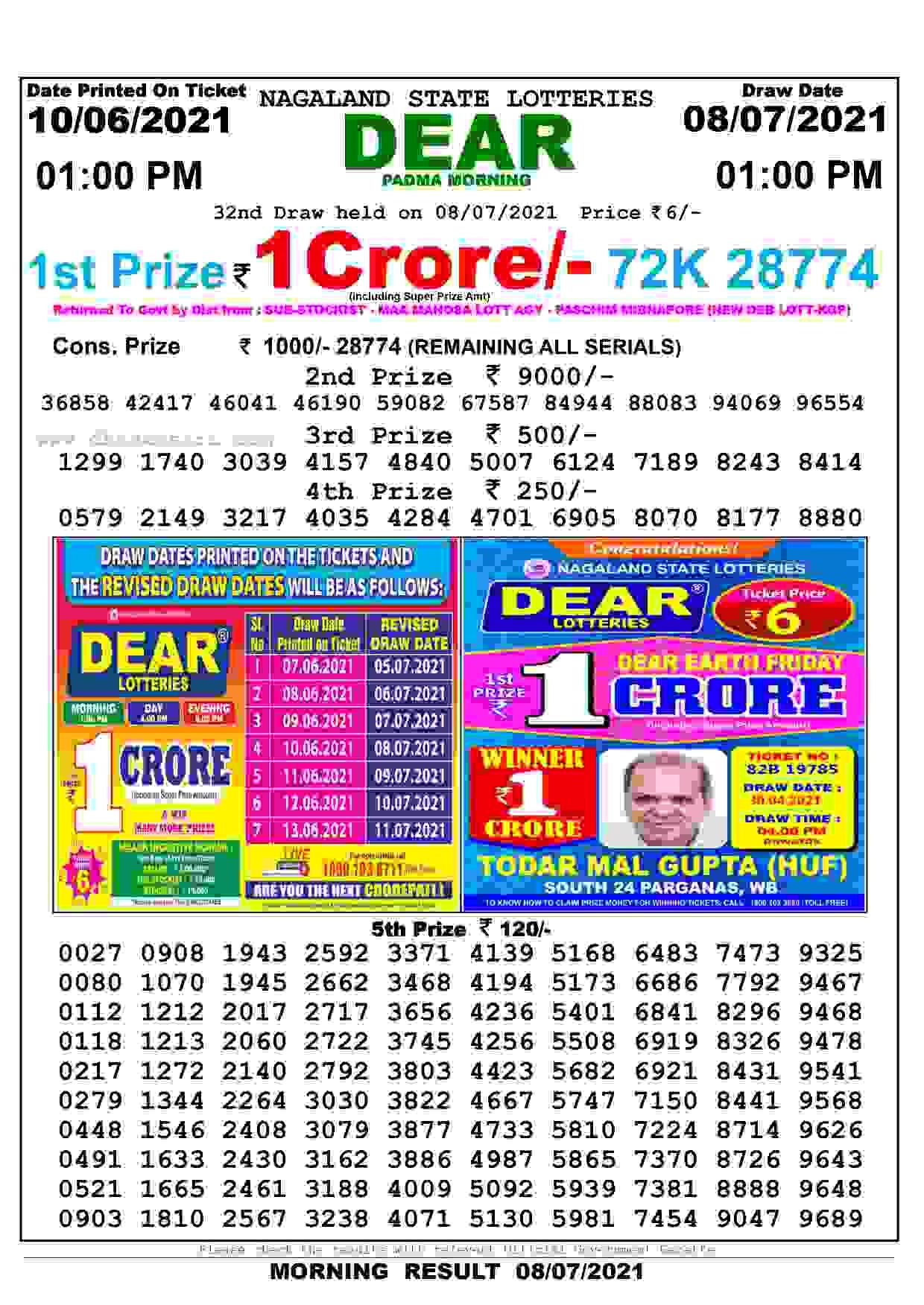 lottery sambad 8.7.2021 1pm
