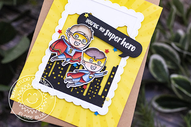 Sunny Studio Stamps: Super Duper Cityscape Border Comic Strip Speech Bubble Dies Fluffy Clouds Border Dies Super Hero Themed Cards by Eloise Blue