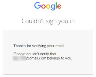 Google couldn't verify account belongs to you