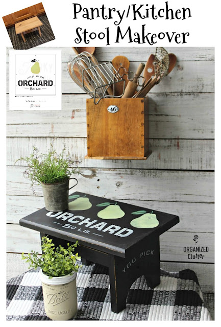 Thrift Shop Stool Upcycled for the Pantry/Kitchen #oldsignstencils #thriftshopmakeover #stencil #farmhouse