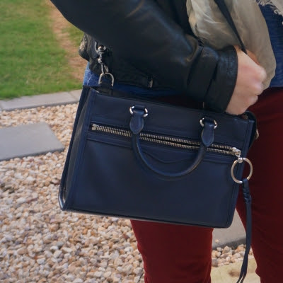 burgundy jeans and Rebecca Minkoff Micro Bedford zip satchel in twilight | awayfromtheblue