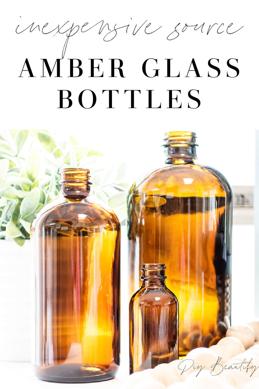 amber glass bottles in fall decor