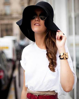 outfit de primavera con sombrero negro grande